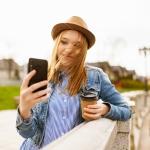 Au pair taking a selfie overseas